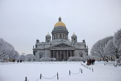 St. Isaac`s Cathedral in Saint Petersburg. Winter holidays in one of the most beautiful cities in Europe - Saint Petersburg. New Year and Christmas celebration royalty free stock photos