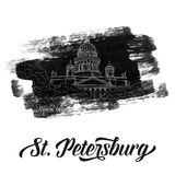 St. Isaac`s Cathedral sketching on grunge background. Saint Petersburg, Russia Royalty Free Stock Image