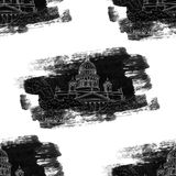 St. Isaac`s Cathedral sketching grunge seamless pattern on white background. Saint Petersburg, Russia Stock Photos