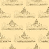 St. Isaac`s Cathedral sketching seamless pattern on beige background. Saint Petersburg, Russia Stock Photos