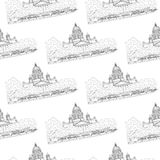 St. Isaac`s Cathedral sketching seamless pattern on white background. Saint Petersburg, Russia Stock Image