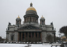 St. Isaac's Cathedral in the snow Royalty Free Stock Images