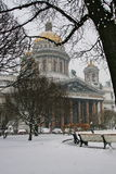 St. Isaac's Cathedral in the snow Stock Photography
