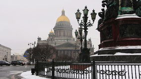 St. Isaac's Cathedral during snowfall stock video footage