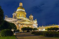 St. Isaac`s Cathedral on Isaac square in St. Petersburg. RUSSIA, SAINT PETERSBURG - AUGUST 18, 2017: St. Isaac`s Cathedral on Isaac square in St. Petersburg Stock Image