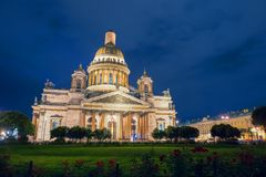 St. Isaac`s Cathedral on Isaac square in St. Petersburg. RUSSIA, SAINT PETERSBURG - AUGUST 18, 2017: St. Isaac`s Cathedral on Isaac square in St. Petersburg Royalty Free Stock Photography