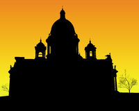 St. Isaac's Cathedral in St Petersburg. Black silhouette of St. Isaac's Cathedral in St Petersburg on an orange background Stock Images
