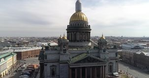 St. Isaac`s Cathedral of St. Petersburg Aerial Shoot stock video