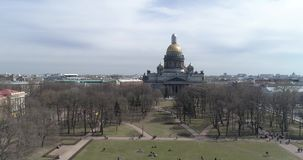 St. Isaac`s Cathedral of St. Petersburg Aerial Shoot stock video footage