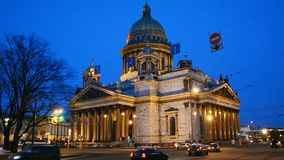 St. Isaac's Cathedral. St. Petersburg evening. St. Petersburg evening in winter, the embankment of the river Neva. Historic buildings and monuments, churches stock footage