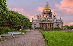 St. Isaac`s Cathedral in St. Petersburg in the morning Royalty Free Stock Photo