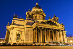 St. Isaac's Cathedral in St. Petersburg night view winter Royalty Free Stock Images