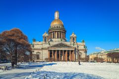 St. Isaac`s Cathedral in St. Petersburg. In winter Stock Photography