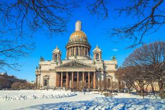 St. Isaac`s Cathedral in St. Petersburg. In winter Stock Photo