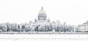 St. Isaac's Cathedral in St. Petersburg in the winter Stock Photos