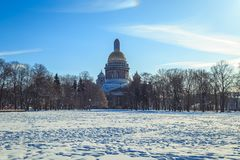 St. Isaac`s Cathedral in St. Petersburg. In winter Royalty Free Stock Photos