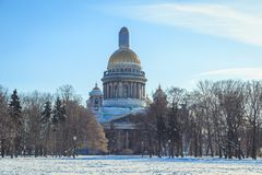 St. Isaac`s Cathedral in St. Petersburg. In winter Stock Photos