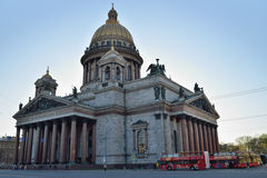 St. Isaac's Cathedral and the tourist tour buses buses Royalty Free Stock Photography