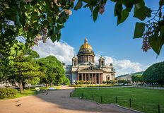 St. Isaac`s Cathedral under the blue sky royalty free stock photo