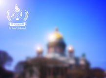 St Isaac's cathedral view. Saint Petersburg, Russia. Vector Illustration. Retro laurel wreath label design with crown and ship. Blur. Background out of focus Stock Images