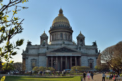 St. Isaac's Cathedral and walking people on a Sunny day Royalty Free Stock Photo