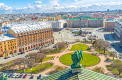 The St Isaac's Square from the Cathedral's rooftop. The rooftop of St Isaac's Cathedral is the best place to enjoy the ensemble of St Isaac's Square with green stock images