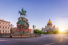 St. Isaac`s Square in St. Petersburg in the morning Stock Photo