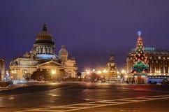 St Isaacs广场在彼得斯堡,俄国。 库存图片