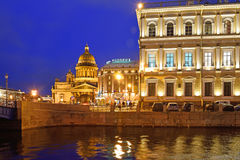 St. Isaacs Cathedral, hotel Astoria, house on the embankment of Royalty Free Stock Photo