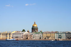 St Issak Cathedral. View of Neva river with St.Isaak cathedral in St.Petersburg, Russia Stock Photo