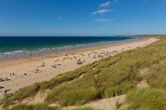 St Ives Bay beach Cornwall uk with people and blue sky and sea Royalty Free Stock Photo