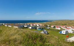 St Ives Bay Cornwall with static caravans and camping in summer Stock Images