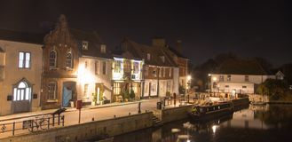St Ives, Cambridgeshire - набережная на ноче Стоковое фото RF