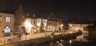 St. Ives, Cambridgeshire - das Kai nachts Lizenzfreies Stockfoto