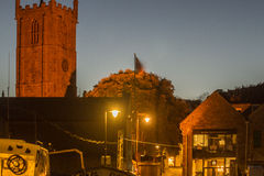 St Ives church. A night shot of st ives church located in st ives stock photos