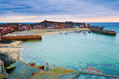 St. Ives Cornwall. Roof top view of the harbour at St. Ives Cornwall UK Stock Photography