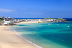 St Ives Cornwall England UK. View overlooking Porthminster Beach St Ives Cornwall England UK Royalty Free Stock Image