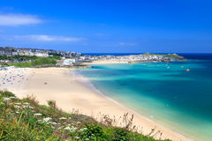 St Ives Cornwall England UK. View overlooking Porthminster Beach St Ives Cornwall England UK Royalty Free Stock Photos