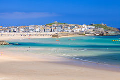 St Ives Cornwall England UK. View overlooking Porthminster Beach St Ives Cornwall England UK Royalty Free Stock Photo