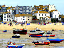 St. Ives, Cornwall. A hot summer day on the harbour beach at St.Ives Stock Images