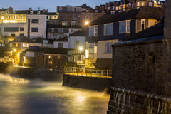 St Ives cornwall. St Ives in cornwall night shot slow shutter speed giving the image a misty look stock photography