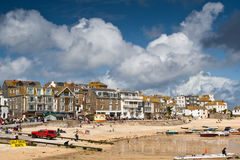 St ives in cornwall with shops as background Stock Image