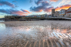 St Ives Cornwall Sunset images libres de droits