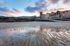 St Ives Cornwall Sunset image stock