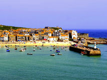 St. Ives, Cornwall. The town, harbor, Smeaton's pier and harbor beach at St. Ives, Cornwall, England, UK Stock Photos