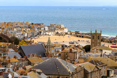St. Ives Cornwall, UK. Seaside Village of St. Ives, Cornwall, UK. Roof top view of the harbor Royalty Free Stock Photos