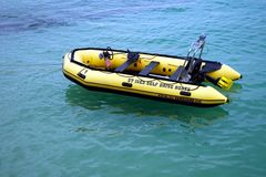 St Ives, Cornwall, UK - April 13 2018: motorised inflatable ding. Hy motor boat belonging to St Ives Self Drive Boats Royalty Free Stock Photos