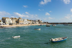 St Ives Cornwall uk boats in harbour in this beautiful tourist town. In the summer sunshine Royalty Free Stock Photography