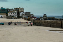 St Ives cornwall. St Ives in cornwall the view of the harbour with some boats moored royalty free stock photo