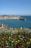 St. Ives de haven en de kleurrijke lente bloeien. Stock Afbeeldingen
